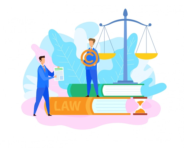 Intellectual property lawyer flat illustration