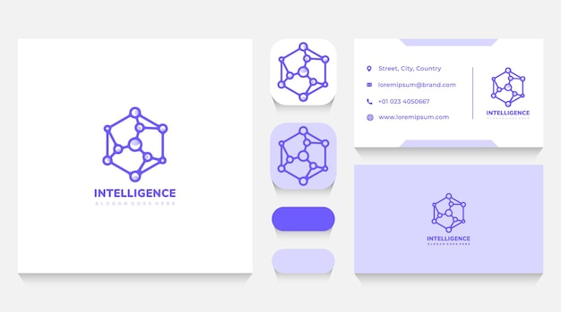 Intelligence cube and tech logo template and business card