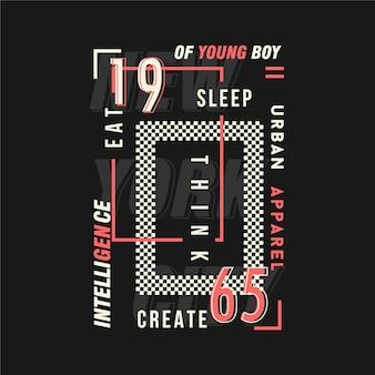 어린 소년 글자 그래픽 타이포그래피 티셔츠 프린트의 지능