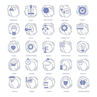 Intelligence vector icons set