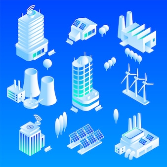 Intelligent building icon set