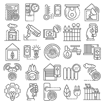 Intelligent building system icon set. outline set of intelligent building system vector icons