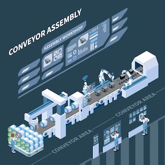 어둠에 조립 컨베이어의 홀로그램 컨트롤 패널을 갖춘 지능형 제조 아이소 메트릭 구성