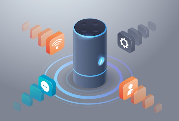 Intelligent smart speaker voice recognition activated digital assistants automated command report concept 3d isometric