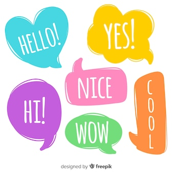 Intense colorful speech bubbles with expressions