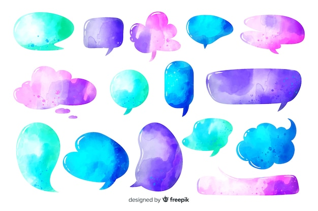 Intense colors watercolored different speech bubbles