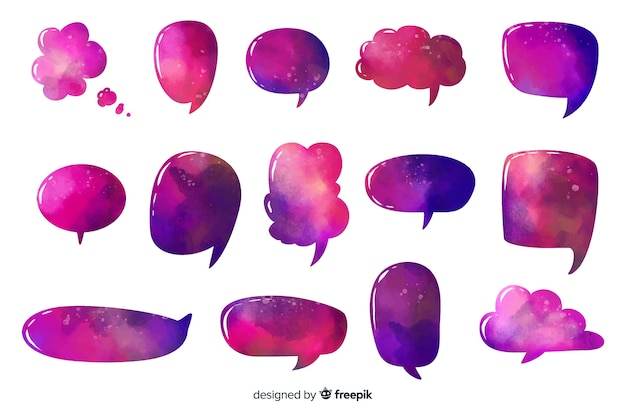 Intense purple colored speech and dialogue bubbles