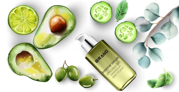 Intense serum bottle with healthy products decoration