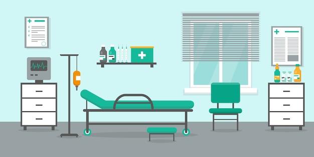 침대, 창문 및 의료 장비를 갖춘 집중 치료실입니다.
