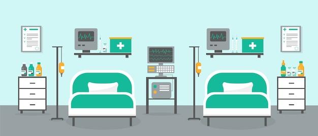 Кабинет интенсивной терапии с двумя кроватями и медицинским оборудованием. интерьер комнаты больницы или клиники.