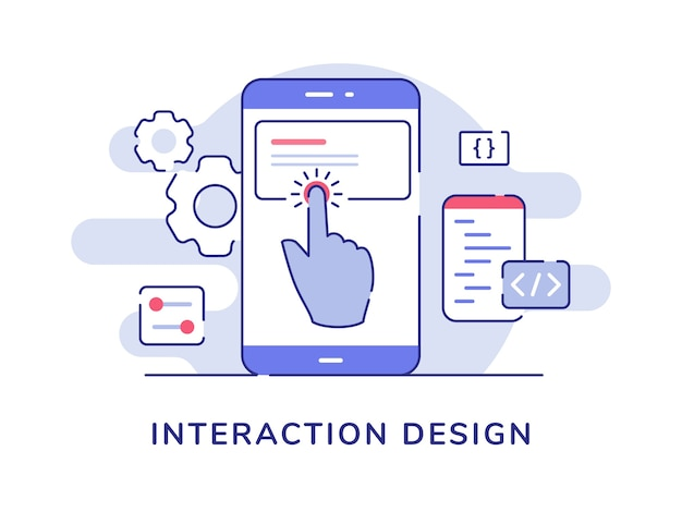Interaction design concept finger touch button on smartphone screen with flat outline style