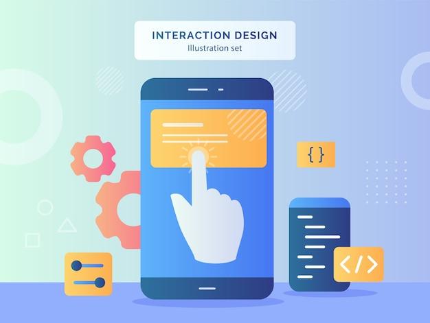 インタラクションデザインイラストがフラットスタイルデザインのギアコーディングのスマートフォン画面の背景に指を設定