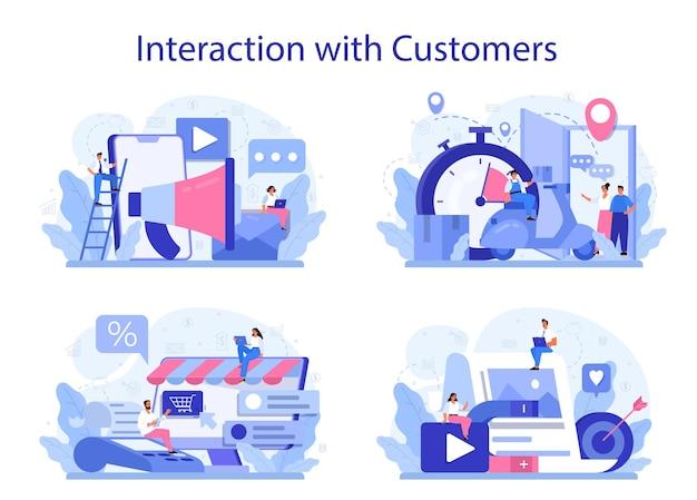 顧客のコンセプトセットとの相互作用。クライアント維持のためのマーケティング手法。顧客とのコミュニケーションと関係のアイデア。フィードバック。 Premiumベクター