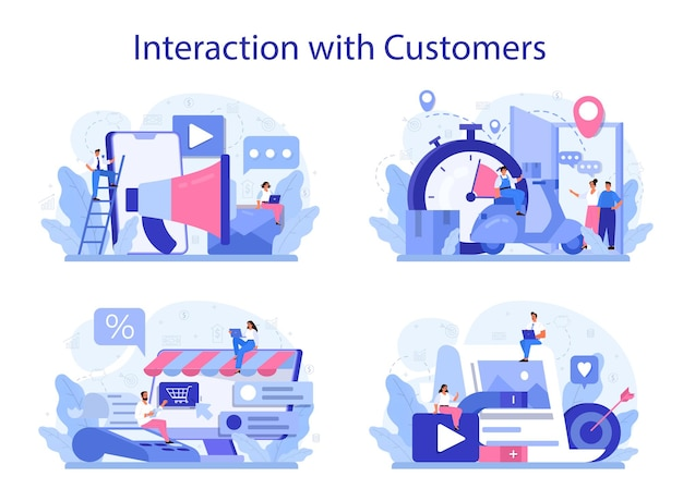 Interaction with a customer concept set. marketing technique for client retention. idea of communication and relationship with customers. feedback.