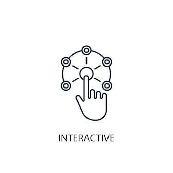 インタラクティブなコンセプトラインアイコン。シンプルな要素のイラスト。インタラクティブなコンセプト概要シンボルデザイン。 webおよびモバイルui / uxに使用できます