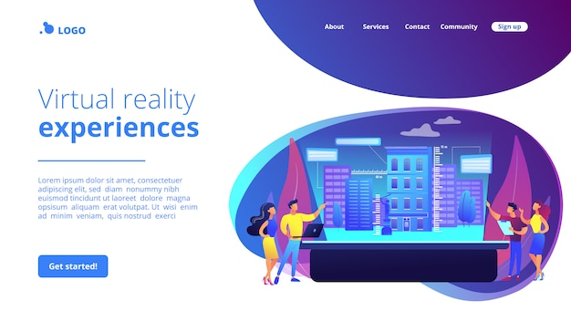 Interactive design visualization concept landing page