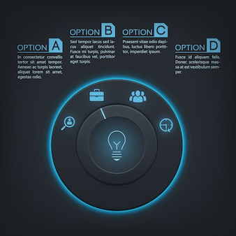 Interactive infographic template with four steps,