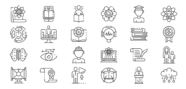 Interactive learning icons set, outline style