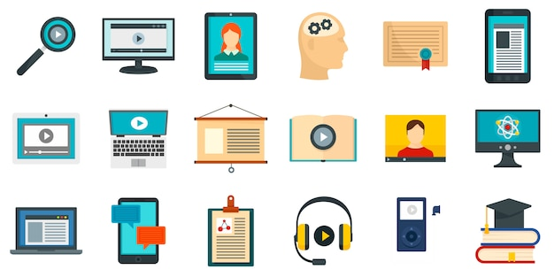 Interactive learning icons set