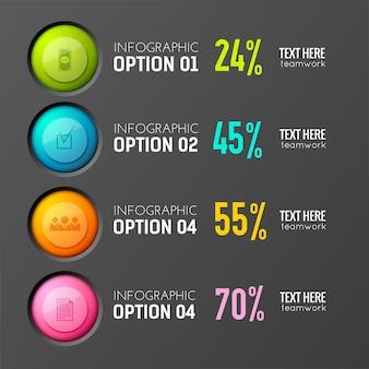 編集可能なテキストとパーセンテージの円のピクトグラムアイコンで示される3つのオプションを備えたインタラクティブな投票の概念