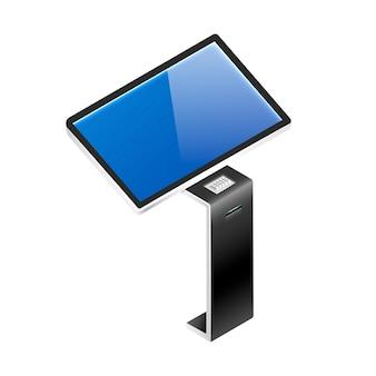 대화 형 제품 홍보 패널 아이소 메트릭. 터치 스크린이있는 디지털 보드는 평면 색상 개체를 표시합니다. 흰색 배경에 고립 된 센서와 셀프 서비스 키오스크.