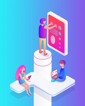 Interactive reality people set vector illustration