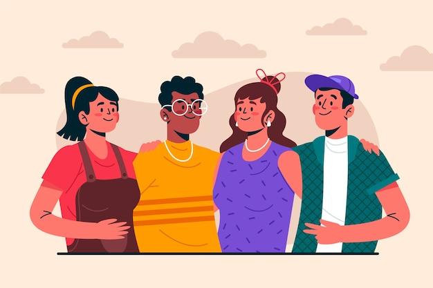 Persone interculturali che posano insieme