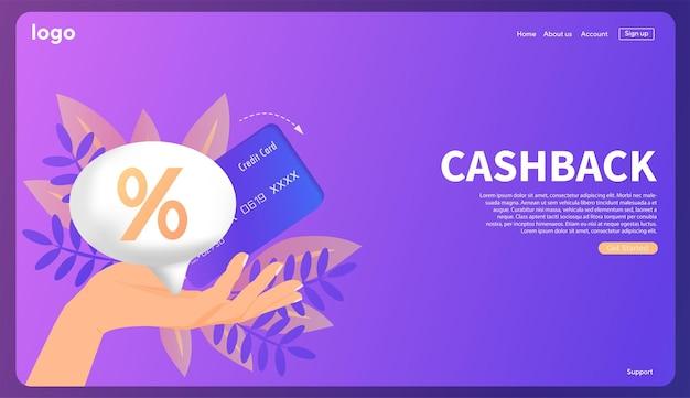 Шаблон кэшбэка процентов для рекламного финансирования возврат процентов после оплаты сейф вектор