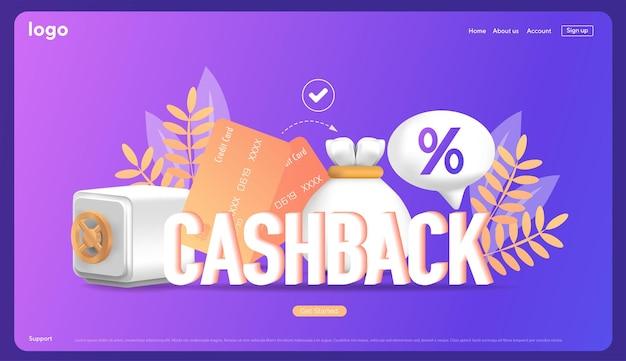 Кэшбэк процентов шаблон для рекламного финансирования объемный знак возврат процентов после оплаты