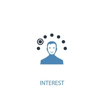 Interest concept 2 colored icon. simple blue element illustration. interest concept symbol design. can be used for web and mobile ui/ux