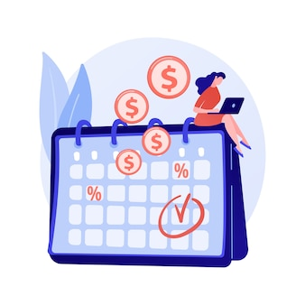 預金利息、収益性の高い投資、債券。定期的な支払い、定期的な現金領収書。カレンダーの漫画のキャラクターとお金の受取人