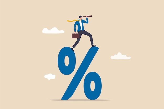 Interest rate forecast, fed and central bank financial policy, search for investment profit or banking loan payment concept, confident businessman climb up percentage sign see vision on telescope.