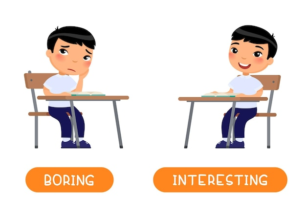 Interesting and boring antonyms word card illustration