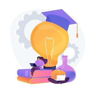Ricerca online di fatti interessanti di chimica. autoeducazione, preparazione esami, navigazione in internet. personaggi di uomo e donna che esplorano il sito web scientifico.