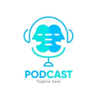 Interesting podcast logo template