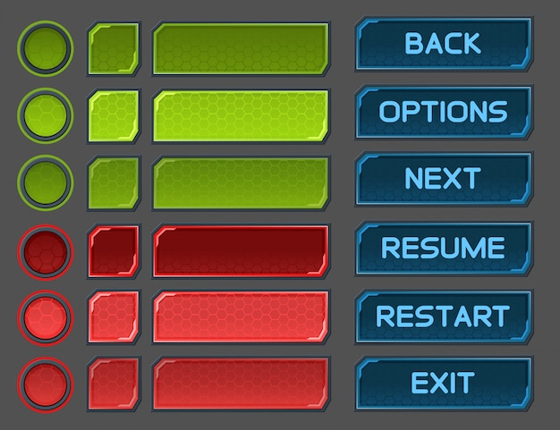 Interface buttons set for space games or apps