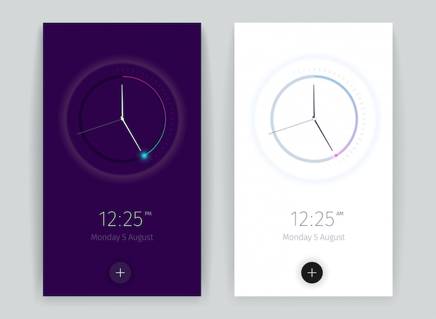 Interface countdown application banners set with time symbols vertical realistic isolated