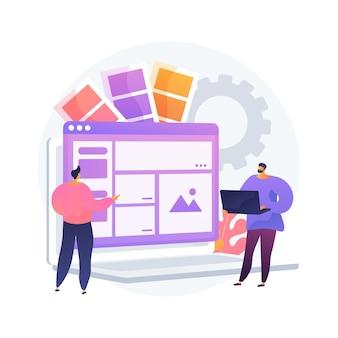인터페이스 디자인 추상적 인 개념 그림입니다. 사용자 인터페이스 엔지니어링, 시각적 요소, 웹 사이트 및 응용 프로그램 만들기, 반응 형 디자인, 사용성 테스트, 계층 구조