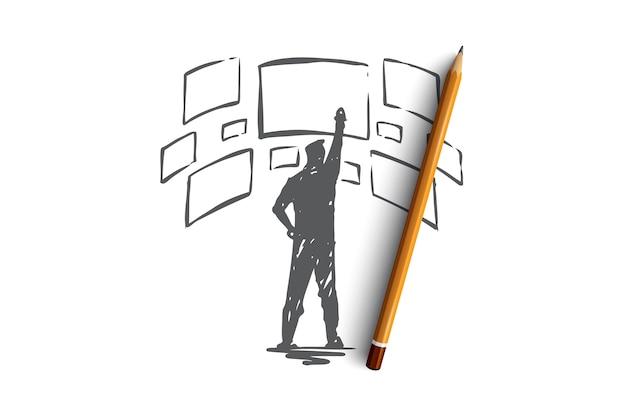 インターフェース、デザイン、ページ、画面、レイアウトのコンセプト。手描きの開発者とインターフェイス画面のコンセプトスケッチ。
