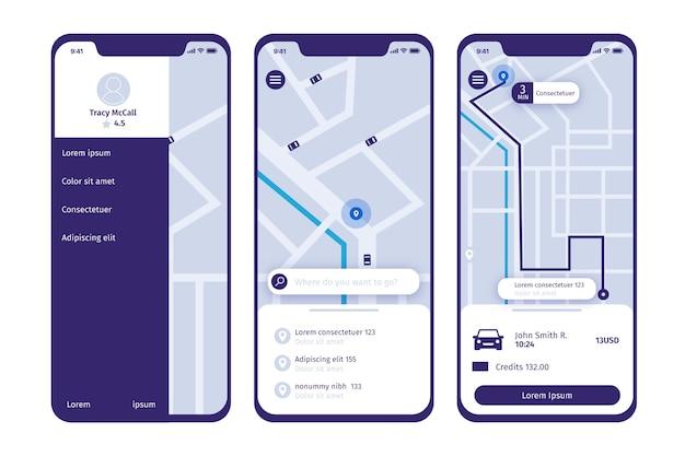 Applicazione taxi design dell'interfaccia