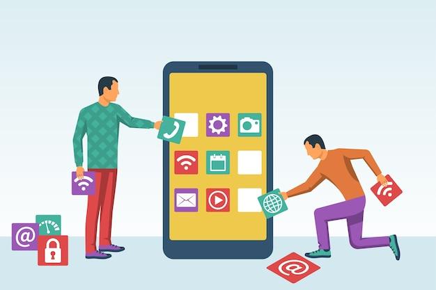 インターフェース開発、モバイルアプリの設計。モバイルテクノロジー。スマートフォンの画面でアプリケーションブロックを作成するプログラマーを小さな人々とチーム化します。ソフトウェア開発プロセス。