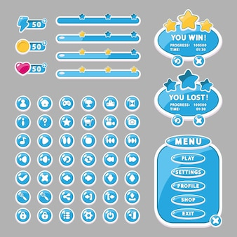 Interface elements for game and app design buttons, menu windows, and settings (gui, ui).