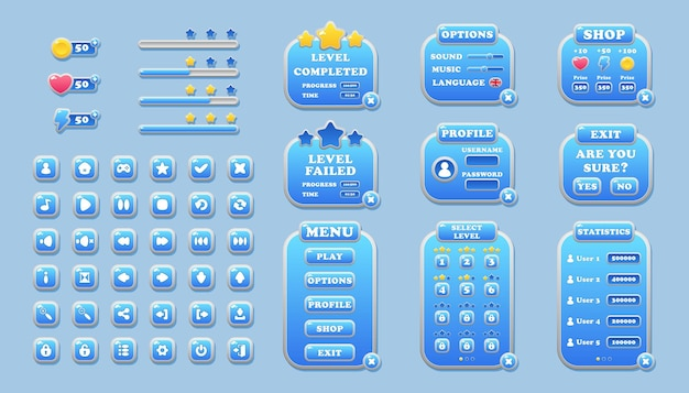 Interface elements for game and app design buttons