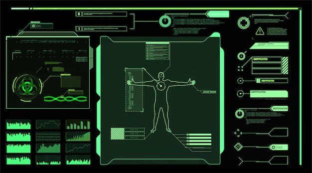인터페이스 요소 hud, ui, gui. 설명 선 제목이 설정되었습니다. 미래의 설명 선 레이블, 정보 표시 줄 막대 및 최신 디지털 정보 상자 레이아웃 템플릿. hud 스타일의 설명 선 제목