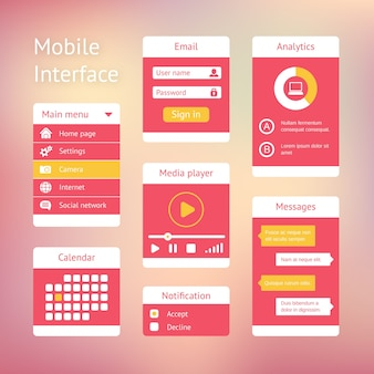 Interface elements for mobile applications. panel lists player calendar and chat