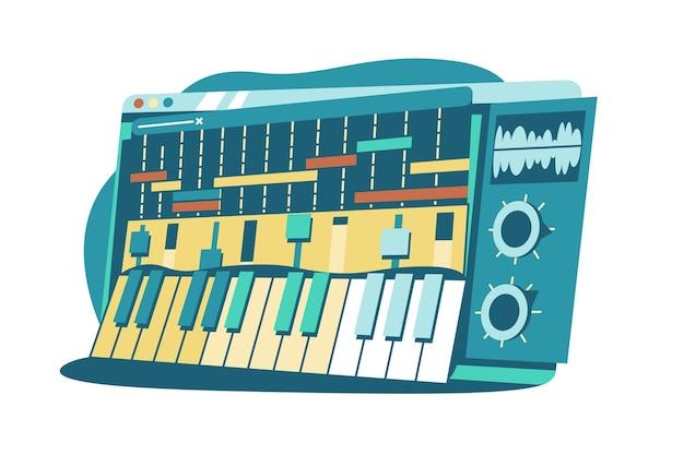 음악 벡터 일러스트를 작곡하기위한 인터페이스. 음악 녹음 및 포스트 프로덕션 플랫 스타일을위한 사운드 스테이션. 이퀄라이저 및 타임 라인 표시기. 음악과 창의성 개념. 흰색 절연