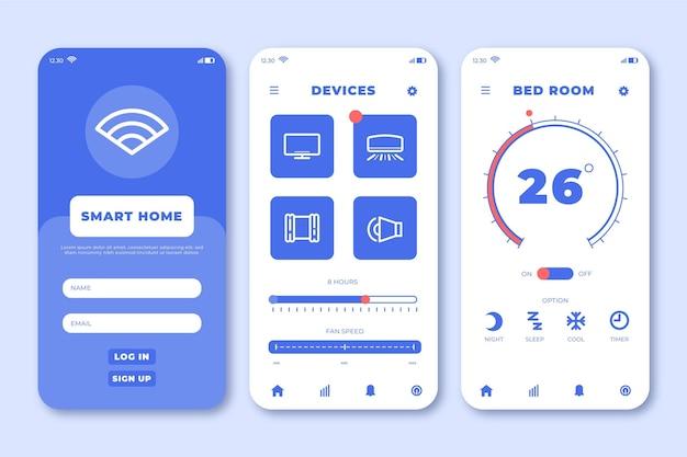 スマートホームアプリケーションのインターフェイス