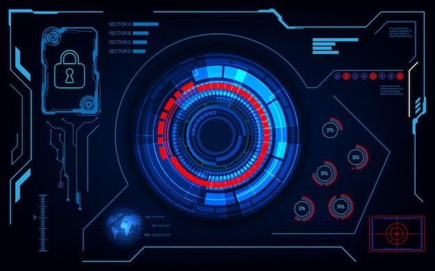 インターフェイスの未来的なhud ui sci fiデザインセキュリティコンセプト