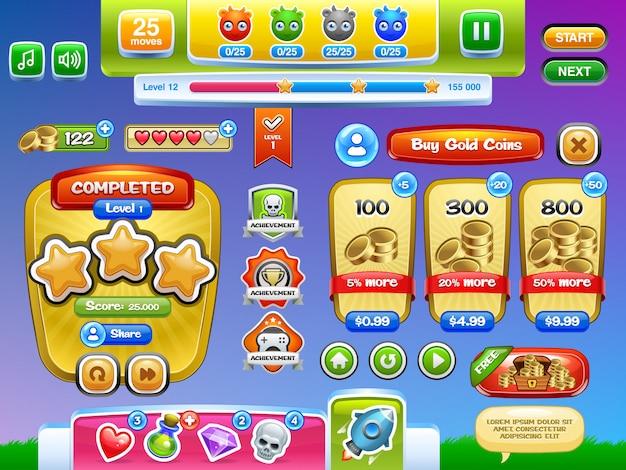 Интерфейс игры и набор кнопок для мобильных игр или приложений. иллюстрация. легко редактировать.