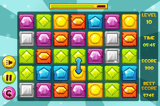Interface gems match3 games. multicolored  precious stone, game assets icons and buttons